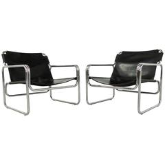 Beautiful Italian Tubular Sling Chairs in Black Saddle Leather, 1970s