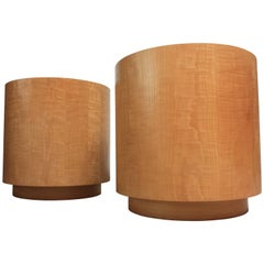 Pair of Large Bookmatched Bird's-Eye Maple Drum Tables