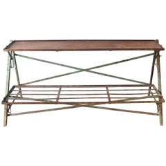 French 19th Century Iron Two Shelf Plant Stand with Green Remnant of Paint
