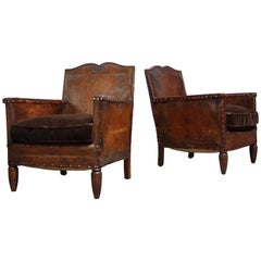 Pair of Diminutive French Leather Club Chairs