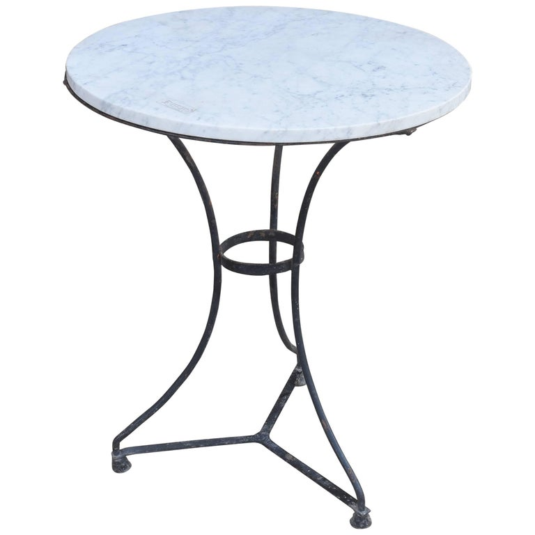 Late 19th Century French Iron Bistro Table Painted Black with White Marble Top
