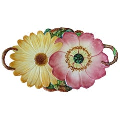 19th Century Majolica Flowers Handled Platter Massier