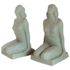 Pair of American Art Deco Green Painted Female Nude Figural Ceramic Bookends