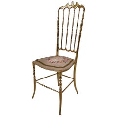 Chiavari Solid Brass Chair, Needle Point Seat and High Back, circa 1950s Italian