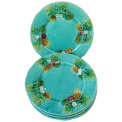 Set of Four Majolica Strawberries Plates Luneville, circa 1880