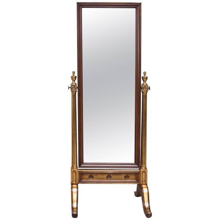 Hollywood Regency-Style Giltwood Cheval Dressing Mirror
