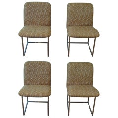 Four Chrome Milo Baughman Style Design Institute America Side Chairs