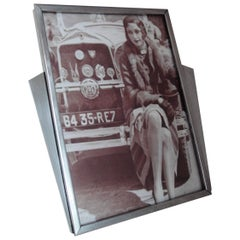 English Art Deco Mid-Sized Chromed Steel and Wood Sunray Photo Frame, Staybrite
