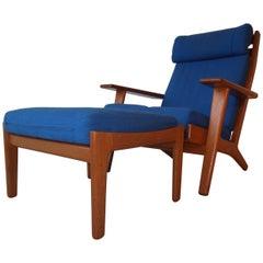 Vintage Hans Wegner Teak High Back Lounge Chair with Ottoman for GETAMA