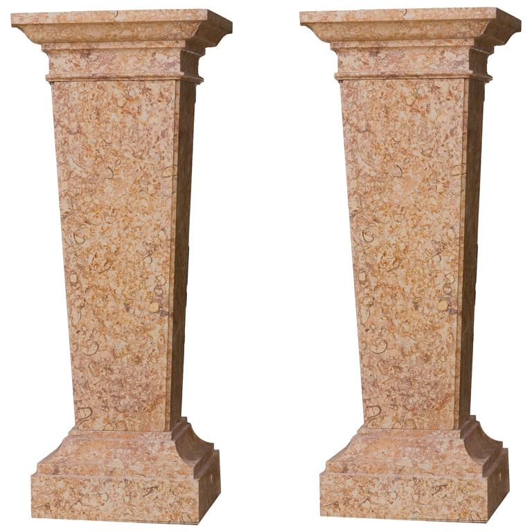 Neoclassical Style Pair Of Pedestal In Marble Broccatello