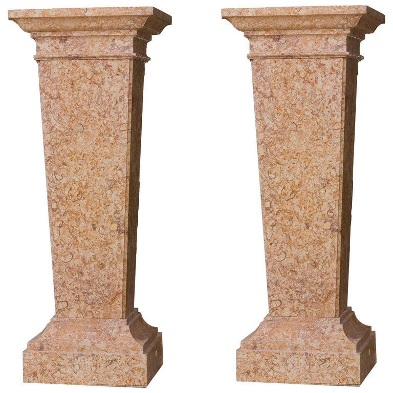 Neoclassical Style pair of Pedestal in Marble Broccatello di Spagna