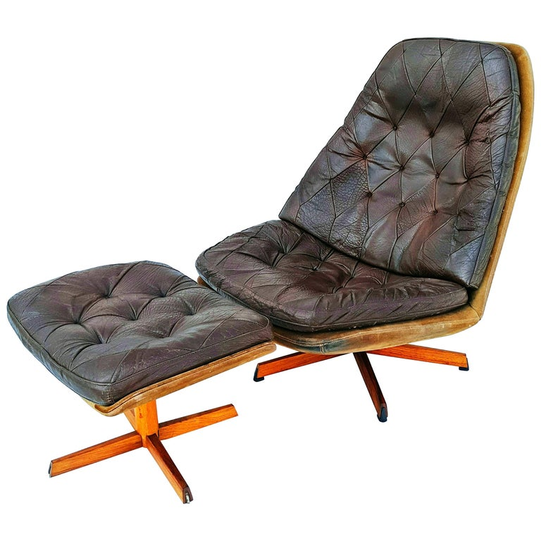Danish Leather Swivel Lounge Chair MS68 with Ottoman by Madsen & Schübel, 1960s