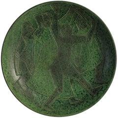 Theo und Susan Harlander Brooklin Keramik, Mid-Century kubistischer Teller