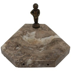 Belgium Brass and Travertine Marble Sculpture Ashtray or Desk Vessel