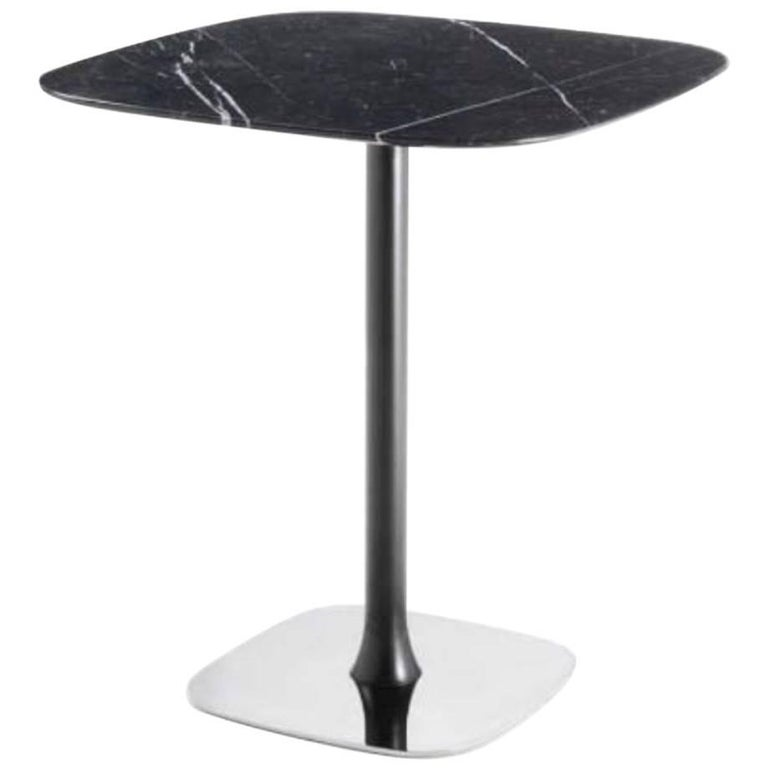 Designer Bar Table, Marble-Top, Chrome Base, Painted Pedestal For ...
