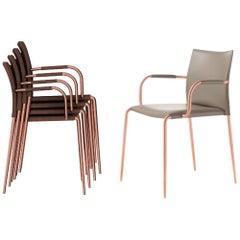 Italian Modern Dining Room Chairs, Hide Leather and Painted