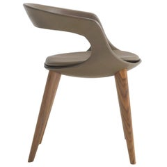 Modern Italian Leather Dining Chairs with wooden legs, hand made in Italy