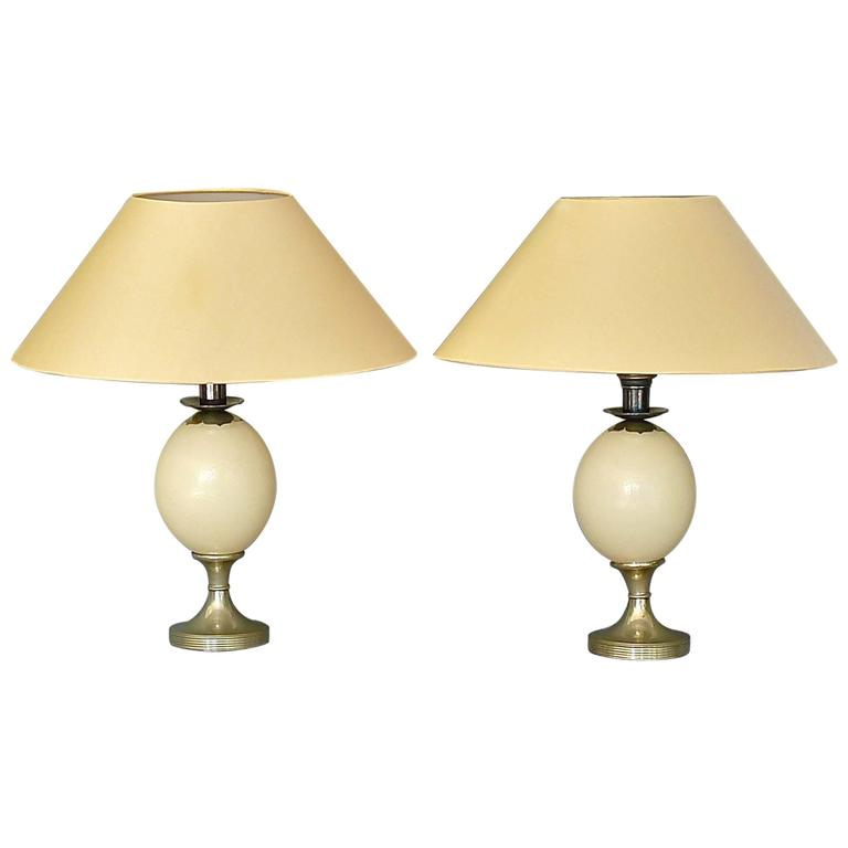 Pair of Signed Anthony Redmile Table Lamps Silver Plated Metal Ostrich Egg 1970s For Sale