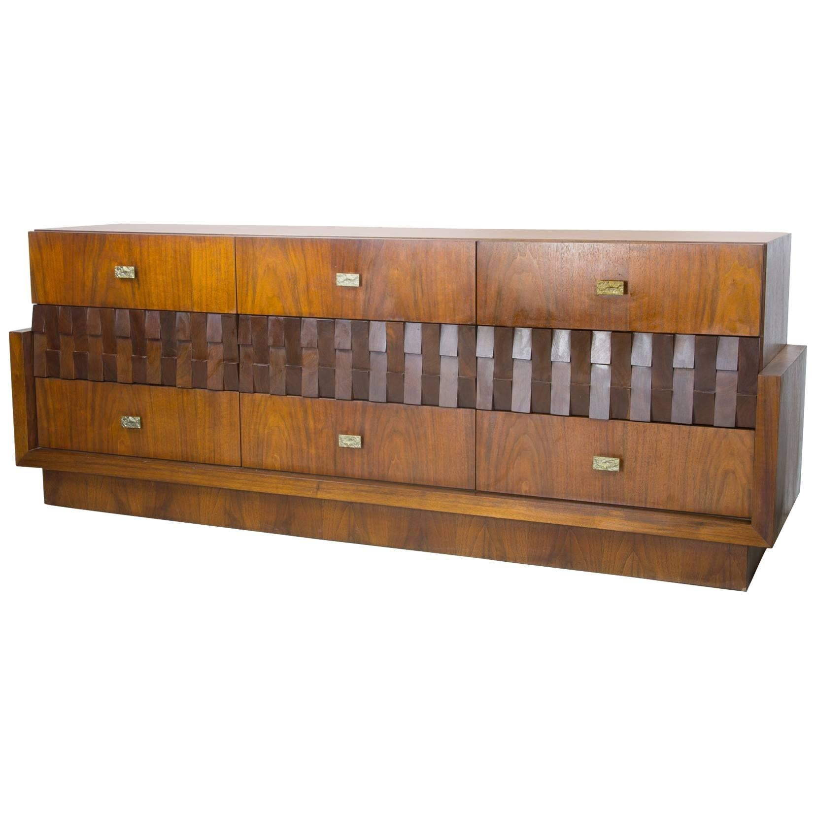 Monumental Walnut Dresser with Faceted Front