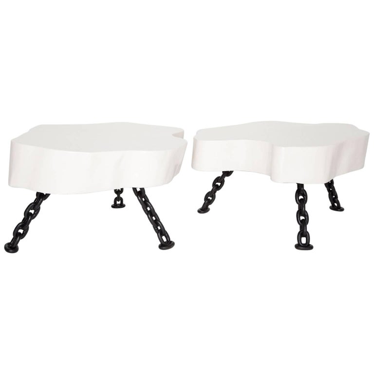 Pair of White Lacquered Tree Trunk Tables with Nautical Chain Legs, Circa 1960 For Sale