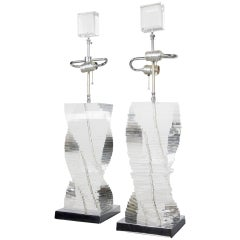 Pair of Stacked Lucite Helix Table Lamps