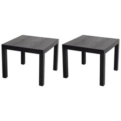 Black Alligator Embossed Leather End Tables after Karl Springer