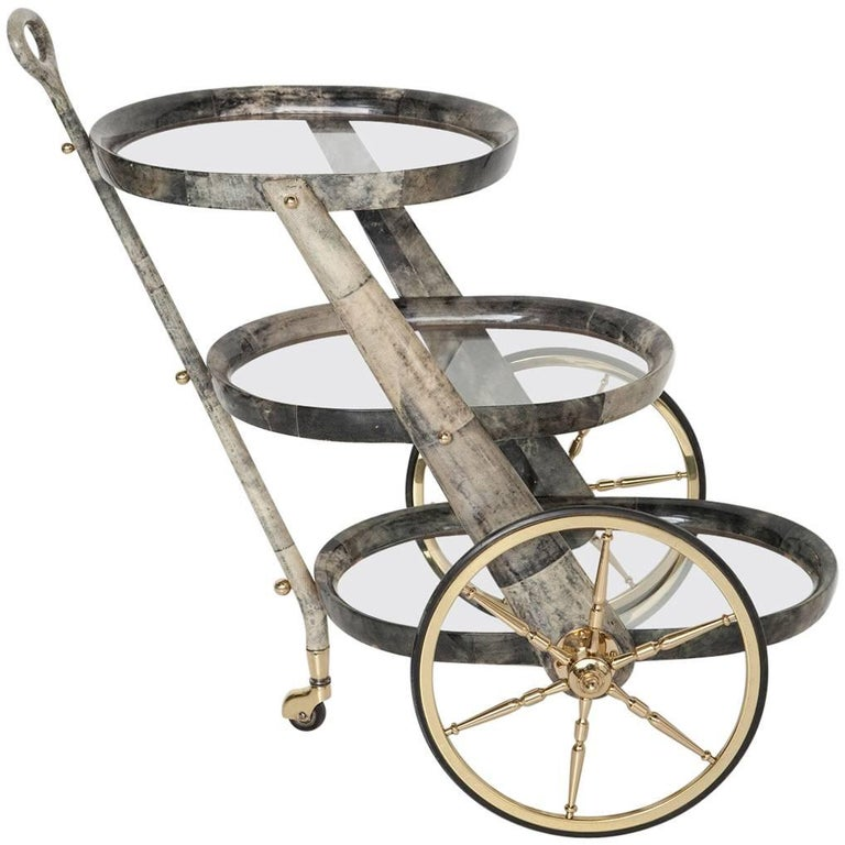 Gray Goatskin Bar Cart by Aldo Tura For Sale