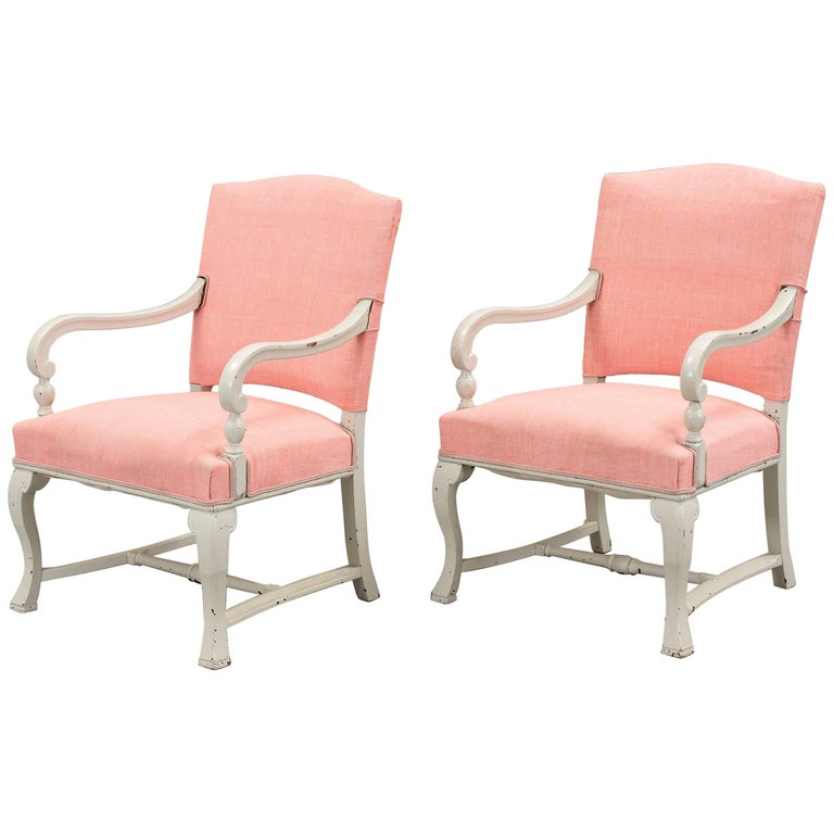 Pair of White Armchairs For Sale