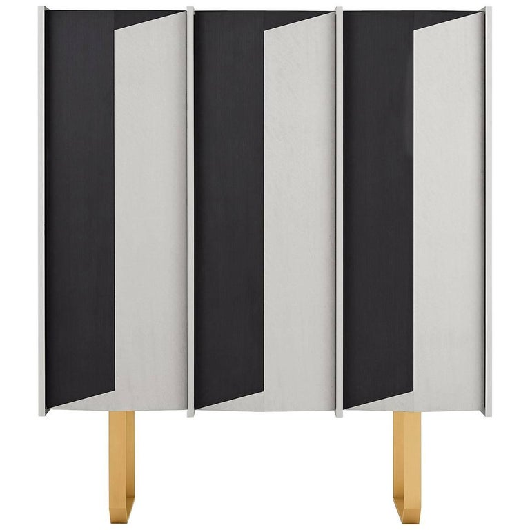 Diedro Sideboard in Wood with Brass Details by Gallotti and Radice ...