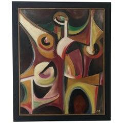 "Mid-Century Modern Oil on Canvas Painting by Hugh M. Neil ""The Bush"""