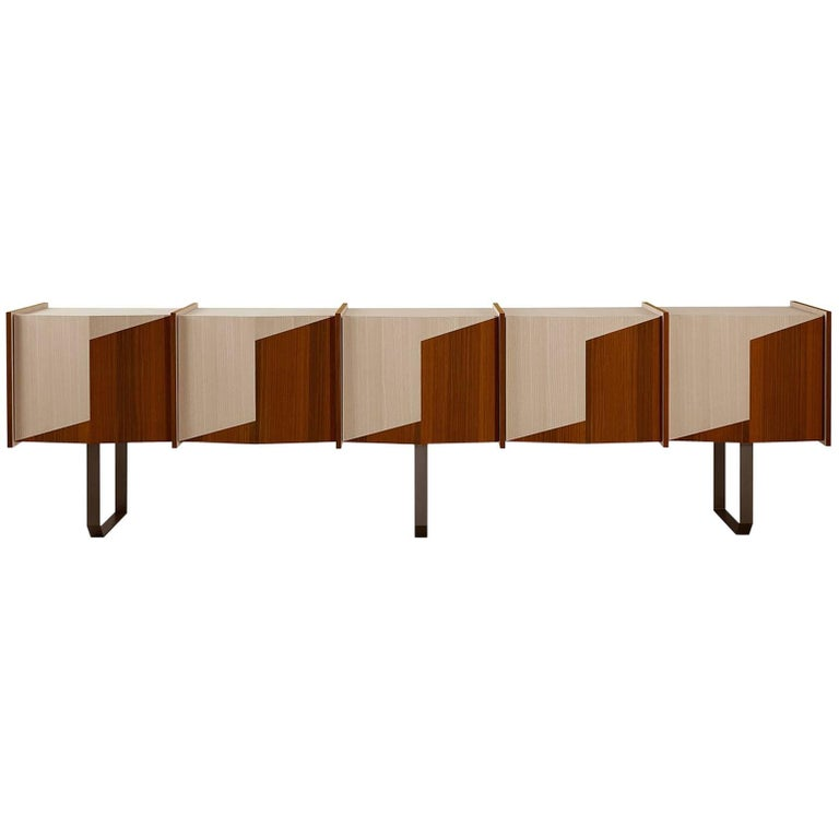 Diedro xl sideboard credenza in wood with metal details for Sideboard xl