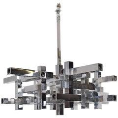 Mid-Century Modern Italian Chrome Metric Chandelier by Sciolari