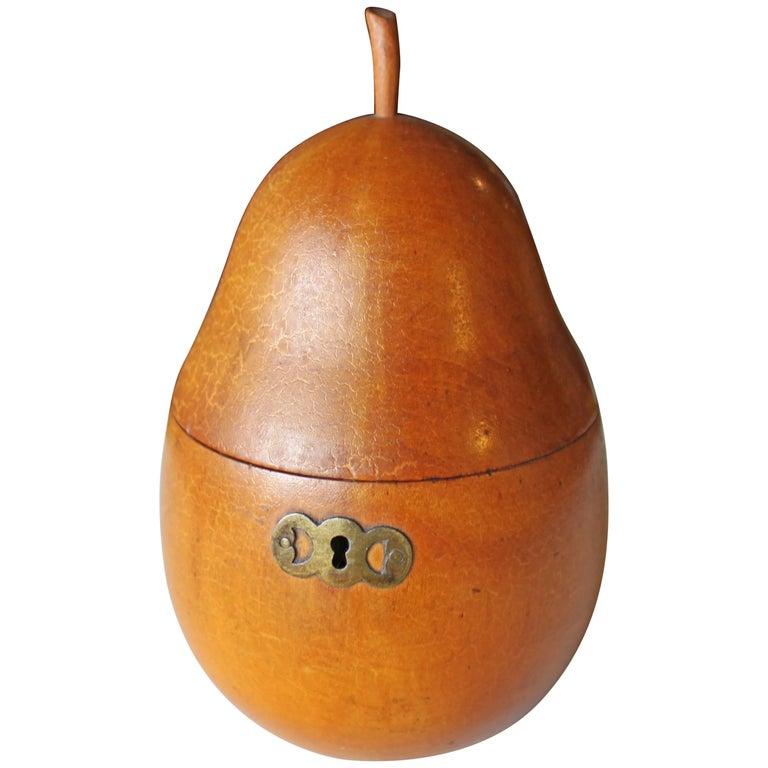 Georgian Fruitwood Pear Form Tea Caddy
