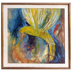 1950s Hummingbird Abstract Painting on Board