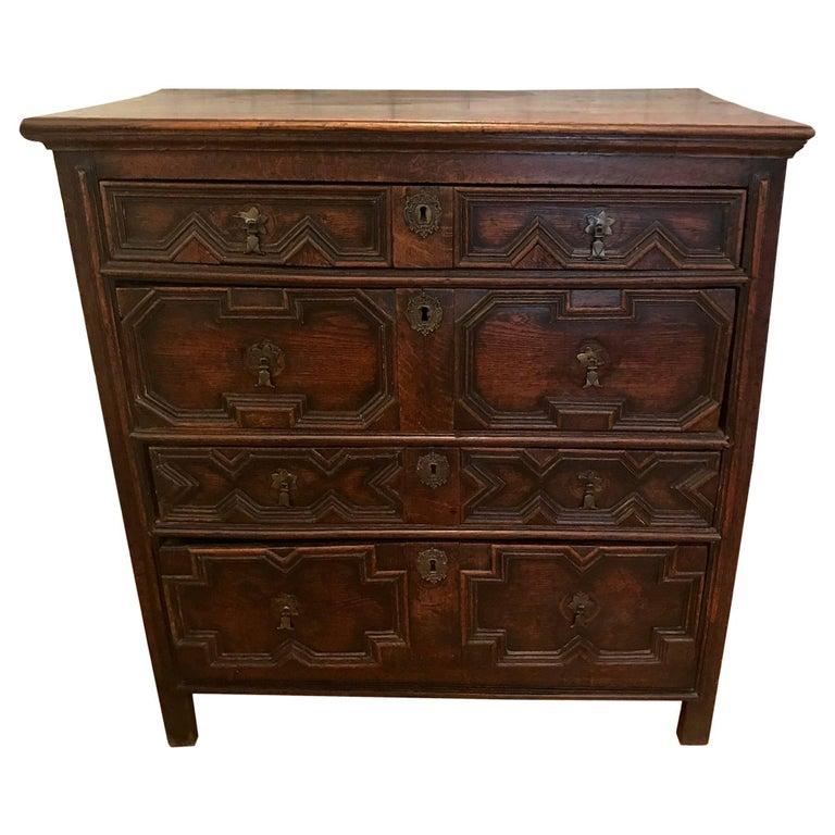 Charles II English Oak Chest of Drawers For Sale