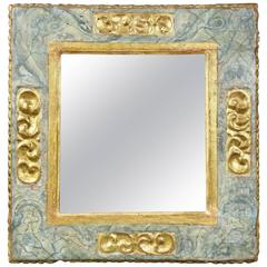 Italian Baroque Painted and Gilded Mirror