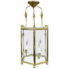 Edwardian Brass and Glass Lantern