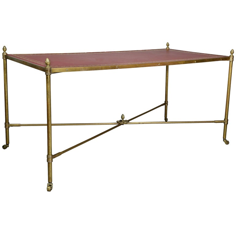 Directoire Style Brass and Leather Coffee Table