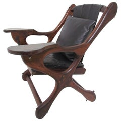 "Don Shoemaker ""Swinger"" Sling Leather and Rosewood Lounge Chair"