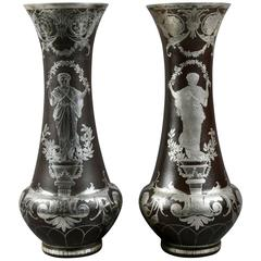 Pair of French Art Glass Vases with Silver Overlay