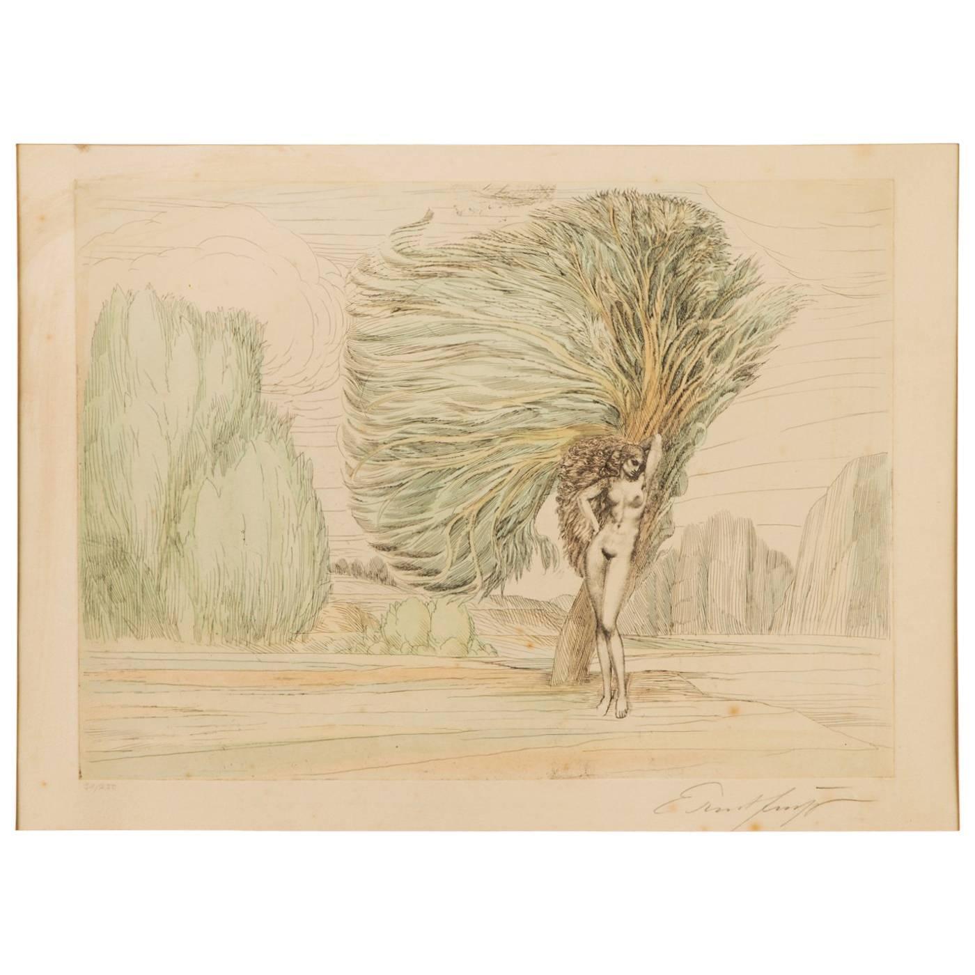 """Ernst Fuchs """"Baum Der Aphrodite"""" Colored Etching"""