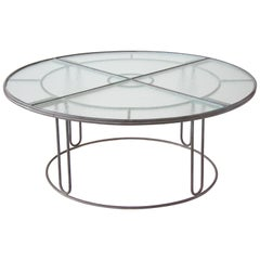 Walter Lamb Bronze Round Dining Table with Hammered Glass Top