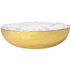 Terra Bass Bianco, Contemporary Coffee Table in Brass with Italian Marble Top