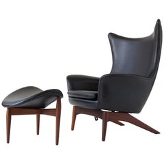 H.W. Klein Leather Reclining Lounge with Ottoman