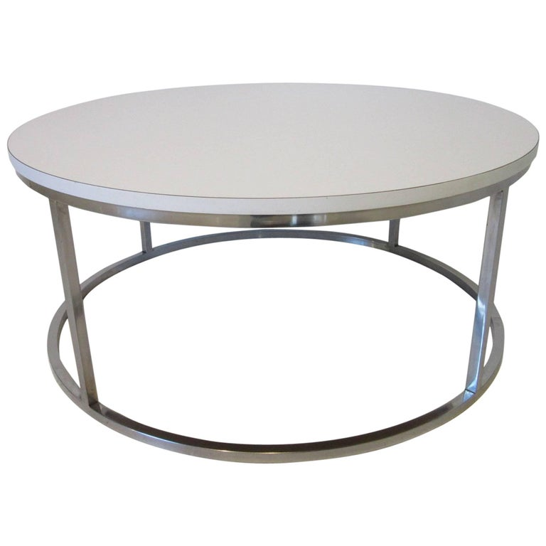 Milo Baughman Styled Round Chrome Coffee Table For Sale At 1stdibs