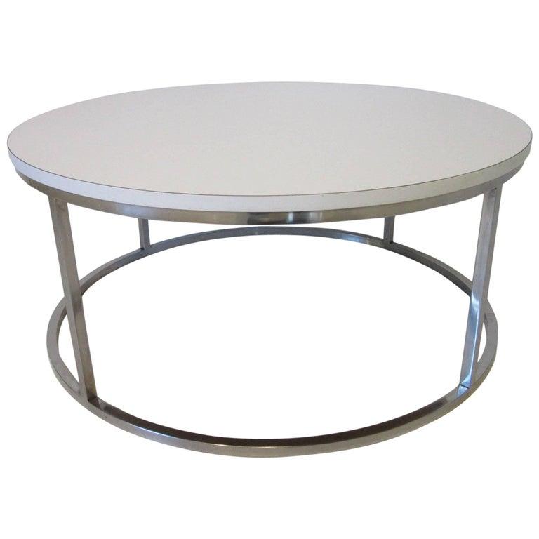 Milo Baughman Styled Round Chrome Coffee Table