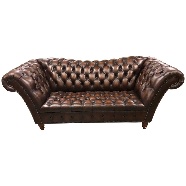 Sumptuous Leather Chesterfield Sofa with Rolled Arms