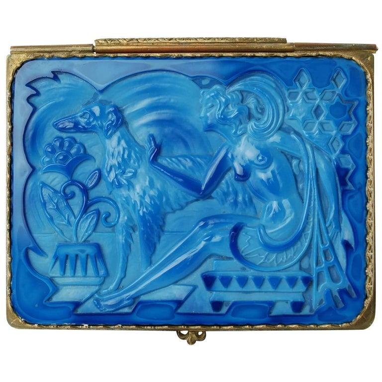 "Schlevogt Hoffmann ""Ingrid"" Lapis Marbled Glass Lidded Box with Ormolu Mounts For Sale"