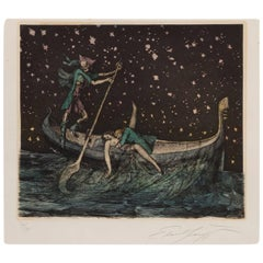 "Ernst Fuchs ""Totengondel"" Colored Etching, 1977"