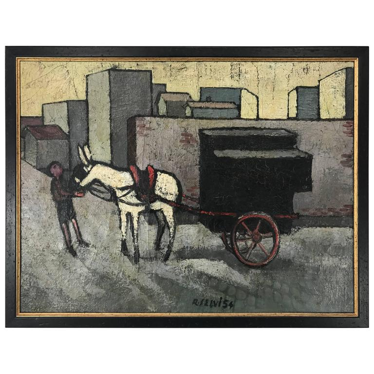 Modernist Oil on Canvas by Renato Selvi, Italy For Sale